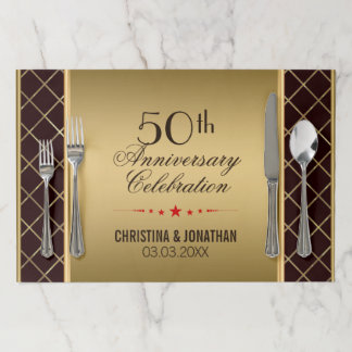 Gold And Brown Geometric Design- 50th Anniversary Paper Placemat