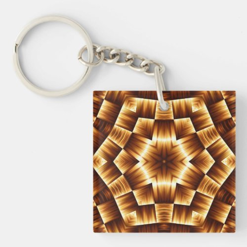Gold and Brown Kaleidoscope Pattern Keychain