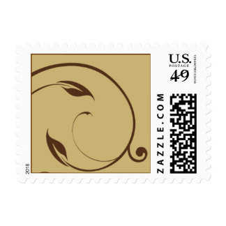gold and brown leaf swril postage