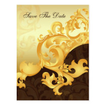 """gold and brown"" save the date announcement postcard"
