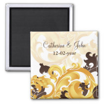 """gold and brown"" Save the date magnet"