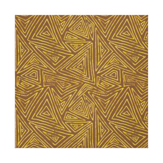 Gold and Brown Triangles Abstract Canvas Print