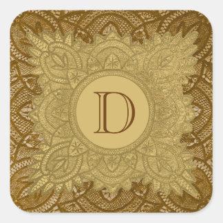 Gold and Brown Vintage Monogram Wedding V26 Square Sticker