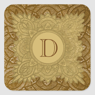 Gold and Brown Vintage Monogram Wedding V26 Square Stickers