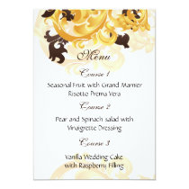 """gold and brown"" wedding menu card"