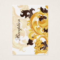 """gold and brown"" wedding Reception Cards"