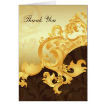 """gold and brown"" wedding ThankYou Cards"