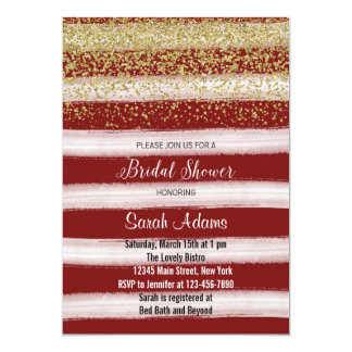 Gold and Burgundy Bridal Shower Invitation