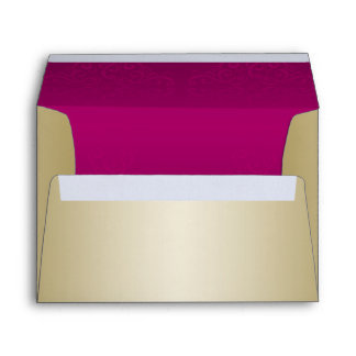 Gold and Burgundy Damask Posh Wedding Envelope