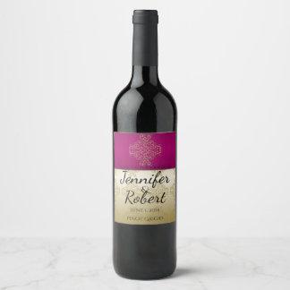 Gold and Burgundy Damask Posh Wedding Wine Label