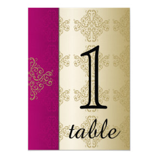 """Gold and Burgundy Damask Table Number 5"""" X 7"""" Invitation Card"""