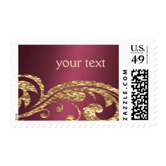 Gold and Burgundy Design Postage
