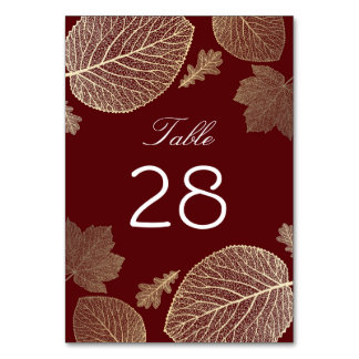 Gold and Burgundy Fall Leaves Wedding Card
