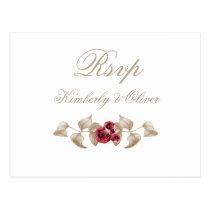 Gold and Burgundy Floral Wedding RSVP Postcard