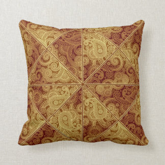 Gold and Burgundy Paisley Pattern Pillow