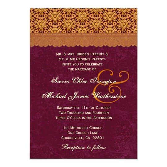 Gold and Burgundy Retro Stars Pattern Wedding B20 Card