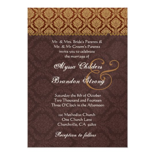 Gold and Chocolate Damask Wedding Template