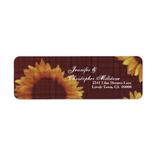 Gold and Chocolate Wedding Sunflower Label