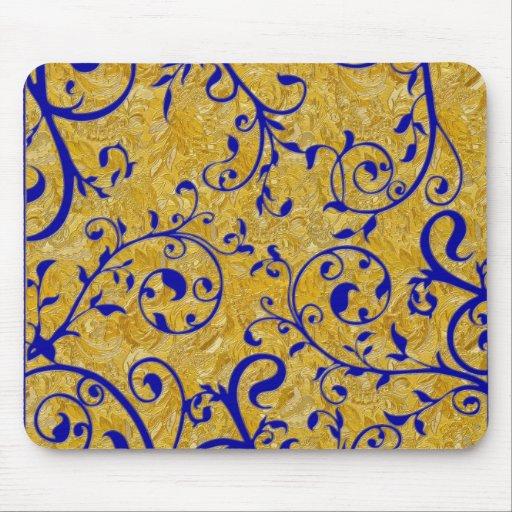 gold and cobalt brocade elegant mousepads
