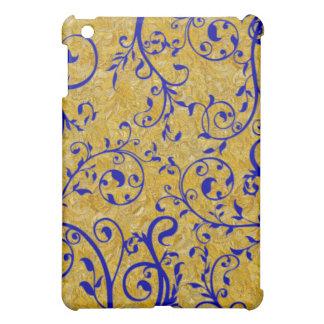 gold and cobalt brocade iPad mini cover