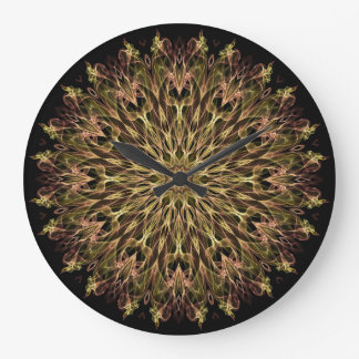 Gold and Copper Kaleidoscope Large Clock