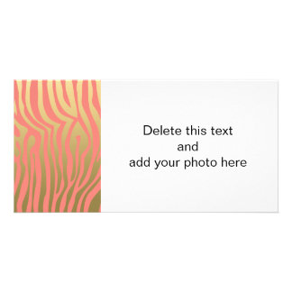 Gold and Coral Pink Zebra Stripes Pattern Card