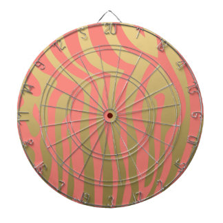 Gold and Coral Pink Zebra Stripes Pattern Dartboard
