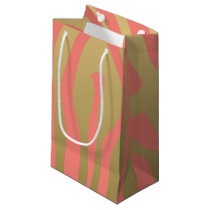 Gold and Coral Pink Zebra Stripes Pattern Small Gift Bag