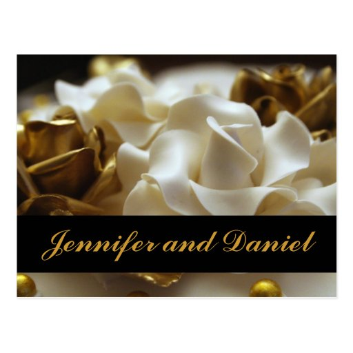Gold and Cream Rose Wedding Invitation Cards