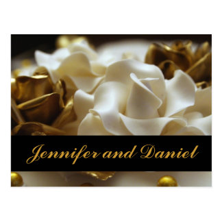 Gold and Cream Rose Wedding Invitation Cards Postcards