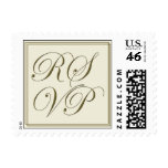 Gold and cream RSVP Postage Stamp