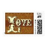 Gold and Cream Vintage Look LOVE Wedding Postage Stamps