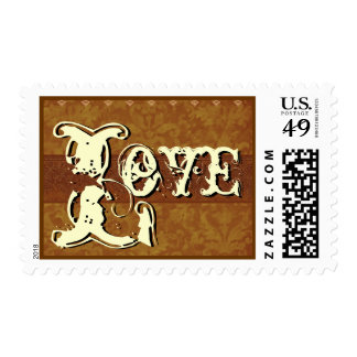Gold and Cream Vintage Look LOVE Wedding Stamps