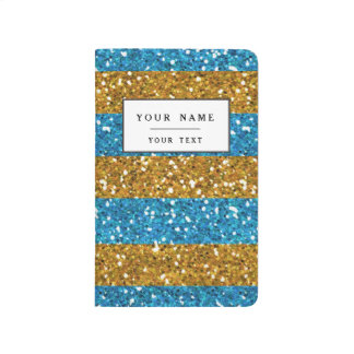 Gold and Cyan Blue Glitter Stripes Printed Journal