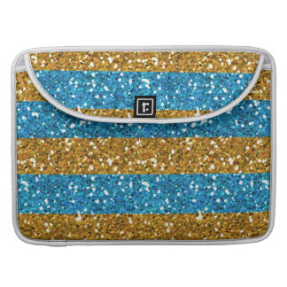 Gold and Cyan Blue Glitter Stripes Printed MacBook Pro Sleeve
