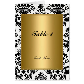 Gold and Damask Table Placement  and Menu Card