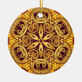 Gold and dark rose festive stained glass ceramic ornament