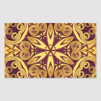 Gold and dark rose festive stained glass rectangular sticker