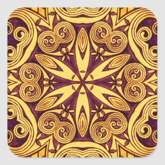Gold and dark rose festive stained glass square sticker