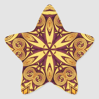 Gold and dark rose festive stained glass star sticker