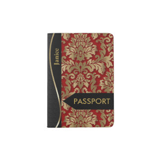 Gold and Deep Red Floral Damask Passport Holder