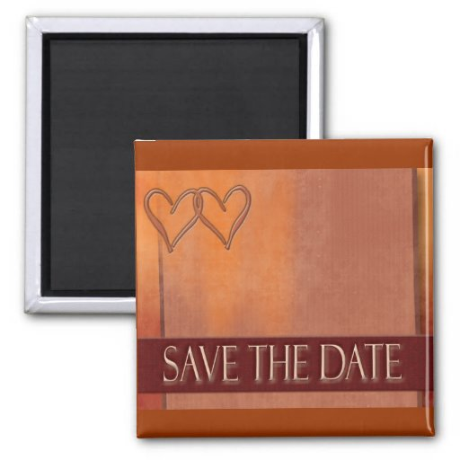 Gold and deep red Save the Date magnet