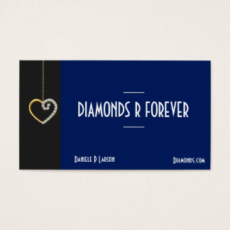 Gold and Diamond Heart Jewelry Business Card