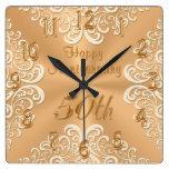 Gold and Ecru Happy 50th Wedding Anniversary Clock