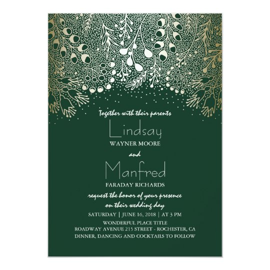 Gold And Emerald Green Enchanted Woodland Wedding Card Zazzle Com