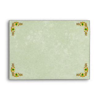 Gold and Emerald Jewel Wedding Envelope