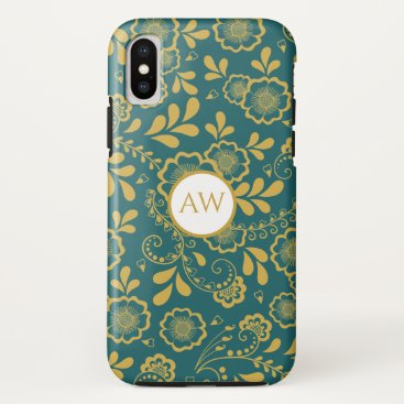 Gold and Emerald Victorain Lace Monogram iPhone XS Case
