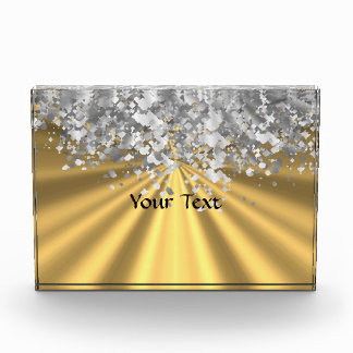 Gold and faux glitter personalized acrylic award