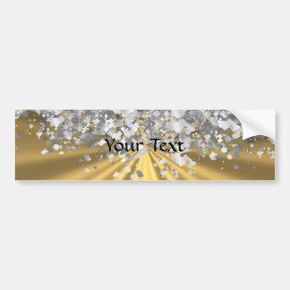 Gold and faux glitter personalized bumper sticker