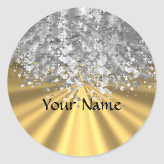 Gold and faux glitter personalized classic round sticker